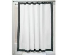 InterDesign Frame Textil Duschvorhang | 183 cm x 183 cm Duschabtrennung für Badewanne und Duschwanne | wasserfester Vorhang mit Ösen | Polyester weiß/schwarz