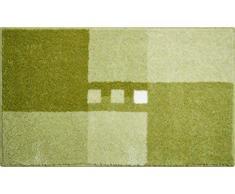 Linea Due Badteppich 100% Polyacryl, ultra soft, rutschfest, ÖKO-TEX-zertifiziert, 5 Jahre Garantie, MERKUR, Badematte 70x120 cm, grün
