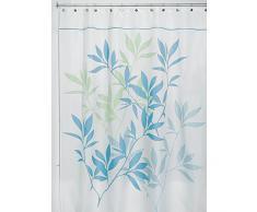 InterDesign Leaves Duschvorhang | Designer Duschvorhang in der Größe 180,0 cm x 200,0 cm | schickes Duschvorhang Motiv mit Blättern | Polyester blau/grün