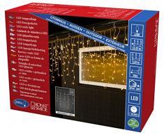 Konstsmide 3672-103 LED Eisregen Lichtervorhang mit weißen Globes / für Außen (IP44) / 24V Außentrafo / 200 warm weiße Dioden / transparentes Kabel