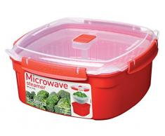 Sistema Microwave Dampfgarer, groß mit herausnehmbarem Korb, 3,2 l, rot/transparent