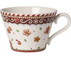 Villeroy & Boch Winter Bakery Delight Kleine Tasse Lebkuchen, 250 ml, Premium Porzellan, Weiß/Rot/Braun