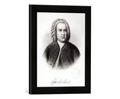 Gerahmtes Bild von V. Weger Portrait of Johann Sebastian Bach (1685-1750), Kunstdruck im hochwertigen handgefertigten Bilder-Rahmen, 30x40 cm, Schwarz matt