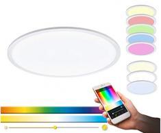 EGLO connect LED Deckenleuchte SARSINA-C Panel, Smart Home Deckenlampe, Material: Aluminium, Kunststoff, Farbe: Weiß, Ø 80 cm, inkl. Fernbedienung, dimmbar, Weißtöne und Farben einstellbar