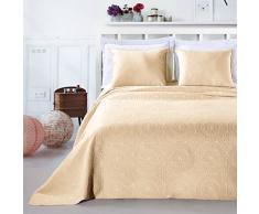 DecoKing 12796 Tagesdecke 240 x 260 cm beige mit 2 Kissenbezügen 50x60 cm Bettüberwurf Pflanzen pflegeleicht Elodie