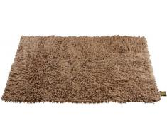 Gözze Teppich, 100% Baumwolle, Wollgarn-Hochfloroptik, 50 x 70 cm, Marone, 1010-8033-7