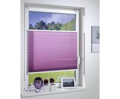 DecoProfi PLISSEE Flieder, verspannt, Breite 85cm x 130cm (max. Gesamthöhe Fensterflügel), mit Klemmträger/Klemmfix / ohne Bohren