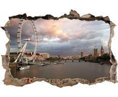 Pixxprint 3D_WD_2829_92x62 London Themse Big Ben Wanddurchbruch 3D Wandtattoo, Vinyl, bunt, 92 x 62 x 0,02 cm