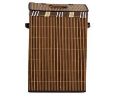 Kesper 19571 Wäschetruhe aus Bambus, eckig, Größe: 42 x 32 cm / Höhe: 60 cm