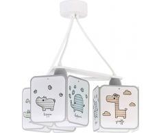 Dalber Hängelampe 3-Leuchten Kinder tischlampe Tiere Baby Zoo, Polypropylen, 60 W, bunt