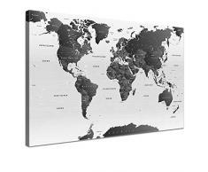 Lana KK - Weltkarte SW hell mit Kork Rückwand - edel Leinwand Bild Kunstdruck auf Keilrahmen, Pinnwand für Weltenbummler 120 x 80 cm