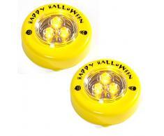 HEITMANN DECO LED-Kerzen - LED-Lichter für Kürbis - Halloween Deko, Grusel-Deko für Kostüm und Laterne - Kunststoff, Gelb, 7 cm, 2er Set