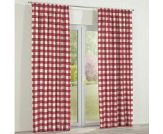 Dekoria Vorhang mit Kräuselband Dekoschal Blickdicht 1 Stck. 130 × 260 cm Weiss-rot kariert Maßanfertigung möglich