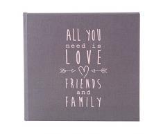 Goldbuch Hochzeitsgästebuch mit Lesezeichen, All you need is love, 23 x 25 cm, 176 chamoisfarbene Blankoseiten, Kunstdruck, Grau, 50085