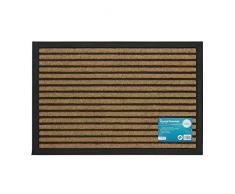 JVL Fußmatte Vienna Heavy Duty Gummi Rückseite Allzweckmatte mat-Lines, 40 x 60 cm, 100% Polypropylen, braun, 40 x 60 x 1 cm