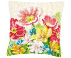 Vervaco Kreuzstichkissen Sommerblumen, Stickbild vorgezeichnet Kreuzstichpackung Kissen, vorbezeichnet, Baumwolle, Mehrfarbig, 40 x 40 x 0,3 cm