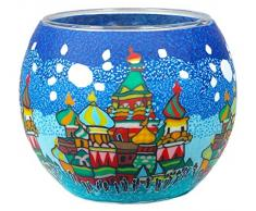 Himmlische Düfte Geschenkartikel CC232 Tischdekoration, Moscow Windlicht Glas 11 x 11 x 9 cm, bunt