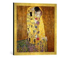 Gerahmtes Bild von Gustav Klimt Der Kuß, Kunstdruck im hochwertigen handgefertigten Bilder-Rahmen, 50x50 cm, Gold Raya