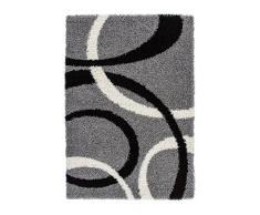 Lalee 347186815 Designer Hochflor Shaggy Teppich / Weich / Muster : Kreise Retro / TOP Preis / Silber / Grösse : 80 x 150 cm