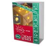 Konstsmide 1269-000 LED Dekolichterkette Sterne / für Innen (IP20) / Batteriebetrieben: 2xAA 1.5V (exkl.) / mit Blinklicht / 20 gelbe Dioden / flexibler Kupferdraht