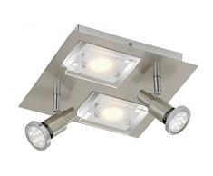 Briloner Leuchten LED Deckenlampe, 2xLED 5 W, 2xLED GU10 3 W, matt/nickel 2879-042