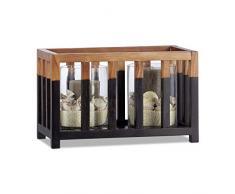 Relaxdays Teakholz Windlicht, Größe L, zylindrische Glasvase, Tischdeko für große Kerzen, Kerzenhalter 36cm breit Schwarz-braun