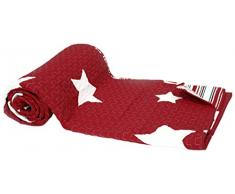 1001 Wohntraum 13D61red-1 Quilt Sophie Sterne Stars Plaid Tagesdecke Decke, 150 x 200 cm, rot / bordeaux