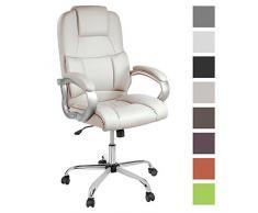 TPFLiving bequemer Premium XXL Bürostuhl Chefsessel Schreibtischstuhl DENVER creme belastbar bis 210 kg hochwertig Kunstleder Wippfunktion stabile Castor Rollen in 8 Farben wählbar