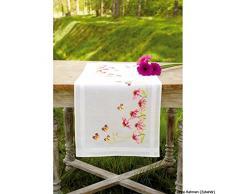 Vervaco Tischläufer Sonnenhut und Schmetterlinge bedruckte Läufer mit Webrand, Baumwolle, Mehrfarbig, 40.0 x 100.0 x 0.30000000000000004 cm, 1 Einheiten