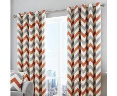 Fusion Chevron Ösenvorhang baumwolle Teracotta Curtains: 66 Width x 90 Drop (168 x 228cm)