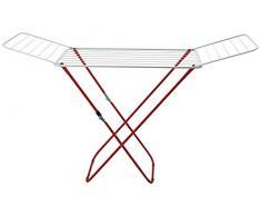 Supernet Wäscheständer, Metall und Kunststoff, weiß und rot, 180 x 50 x 105 cm