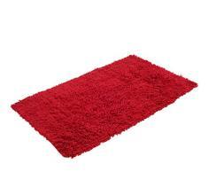 Gözze Teppich, 100% Baumwolle, Wollgarn-Hochfloroptik, 70 x 120 cm, Rot, 1010-4999-72