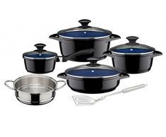 GSW 927123 Ceramica Kobaltblau Induktion Topf-Set 10-teilig, Aluguss, schwarz/blau, 24 cm, Einheiten