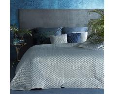 Eurofirany Bettüberwurf Velvet Samt Tagesdecke Pailletten Gesteppte Decke Überwurf Steppdecke Elegant Edel Glamour Schlafzimmer Wohnzimmer Gästezimmer Lounge, Blau, 200X220cm