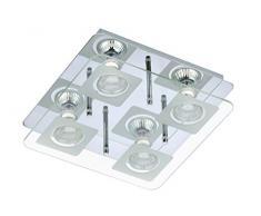 Briloner Leuchten Deckenleuchte, LED Lampe, Deckenlampe, LED Strahler, Spots, Wohnzimmerlampe, Deckenstrahler, Deckenleuchte Wohnzimmer, Deckenspot, Deckenbeleuchtung, Glas teilmattiert