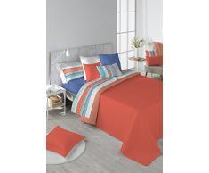 Stilia Tagesdecke für Frühjahr/Sommer, zweifarbig und wendbar, inkl. Kissenbezügen, Koralle, für 150 cm breites Bett