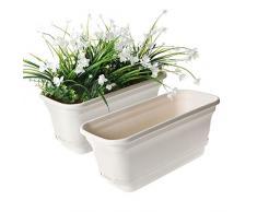 T4U 40cm Plastik Selbstbewässerung Blumenkasten Beige 2er-Set, Wasserspeicher Blumentopf für Innen- und Außenbereiche