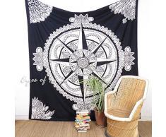 Eyes of India - Groß Königin Weiß Schwarz Hippie Indisches Mandala Wandbehang Keltisch Tagesdecke Unkonventionell Boho