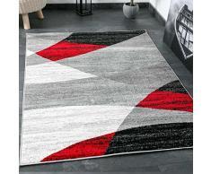 Wohnzimmer Teppich Modern Geometrisches Muster Gestreift Meliert in Rot Grau Weiß Schwarz I ÖKO TEX Zertifiziert I VIMODA, Maße:60 x 110 cm