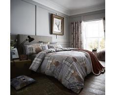 Catherine Lansfield Bettwäsche und Kissenbezüge Heritage, mit Hirschmotiv, aus Baumwolle, Grau, für Bettbreite von 175/200 cm (Super-Kingsize), 240 x 260 cm