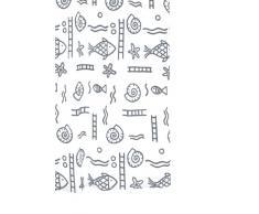 Ridder 46317S-350 Duschvorhang Textil ca. 180 x 200 cm, Neptun grau inklusive Ringe