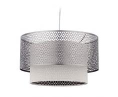 Relaxdays Hängelampe, 1-flammige Esstischlampe, runde Lampenschirme, E27 Pendellampe, Eisen & Leinen, 40,5 cm Ø, Silber