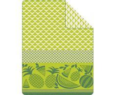 IBENA 1473-700 Jacquard Decke Sorrento mit Früchtchen, 150 x 200 cm, grün