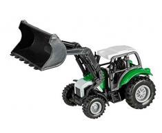 Idena 40292 - Traktor Frontlader mit Rückziehmotor, Anhängerkupplung und abnehmbarem Frontlader, ca. 14 cm