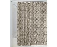InterDesign Medallion Textil Duschvorhang | 183 cm x 183 cm Duschabtrennung für Badewanne und Duschwanne | Vorhang aus Stoff mit verstärkter Oberkante | Polyester braun