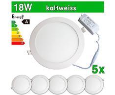 LEDVero 5x Ultraslim LED Panel SMD 2835, 18 W, rund Deckenleuchte Lampe Einbau Leuchte Licht Strahler, kaltweiß SP94