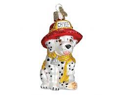 Old World Christbaumschmuck: Feuerwehrmann Weihnachtsmann aus Glas geblasen Ornamenten für Weihnachtsbaum Feuer, Hund 3¼ schwarz