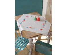 Vervaco PN-0157563 Tischdecke vorgezeichnet Klassische Stickerei Stickpackung, Baumwolle, weiß, 80 x 80 x 0,30 cm