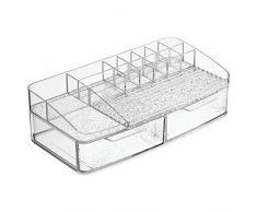 InterDesign Rain Kosmetik Organizer | Schminkaufbewahrung mit vielen Fächern und zwei Schubladen | Kosmetikbox für Wasch- oder Schminktisch | Kunststoff durchsichtig