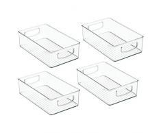 InterDesign 64330M4EU Organizer für Kühlschrank Gefrierschrank, Schrank, Speisekammer - 4 Stück 25,4 x 15,24 x 7,62 cm, Durchsichtig, Plastik, Clear